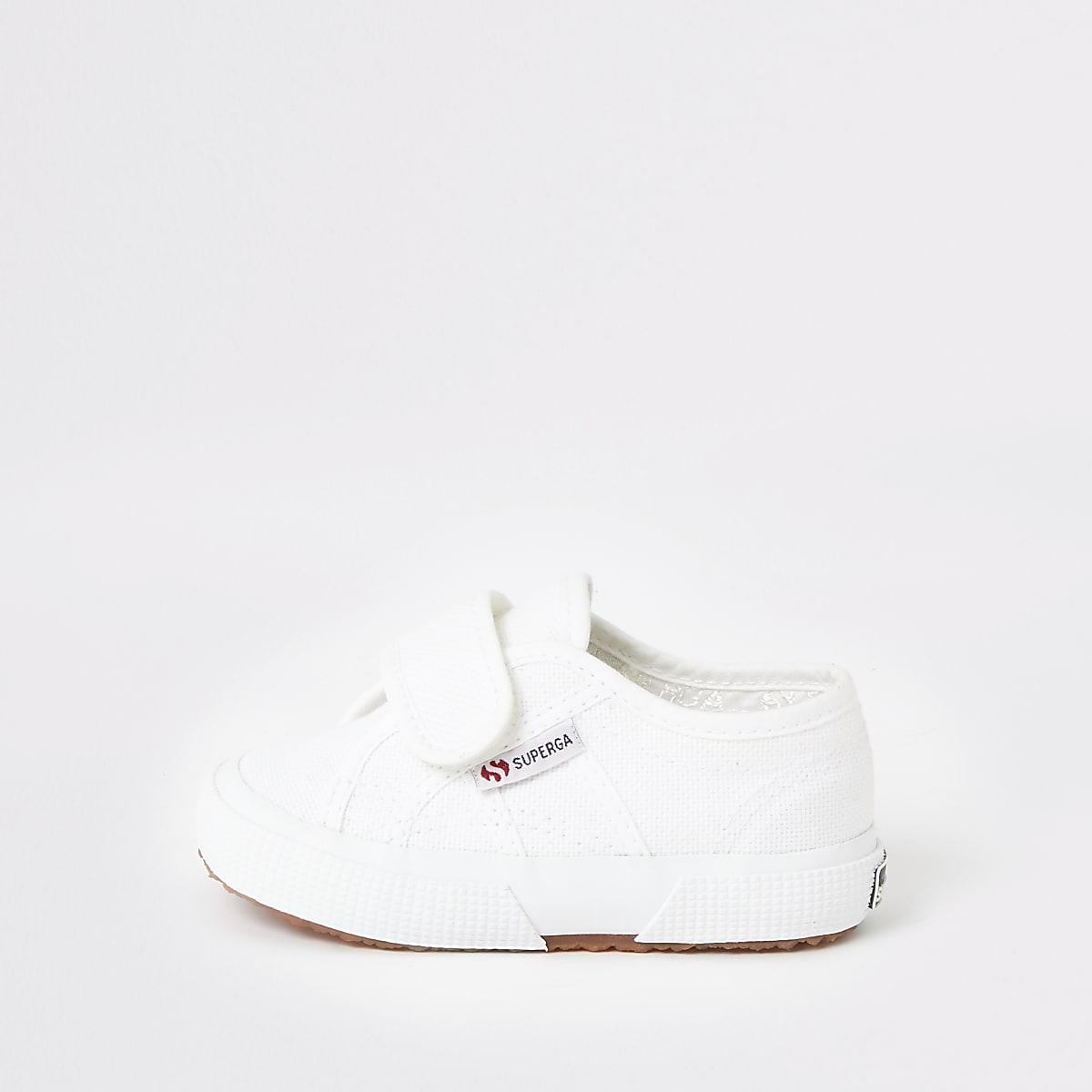 Superga – Tennis blanc à Velcro mini fille
