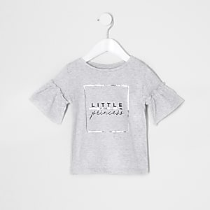 Mini girls grey 'Little princess' T-shirt
