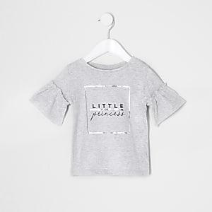 Mini - Grijs T-shirt met 'Little princess'-print voor meisjes