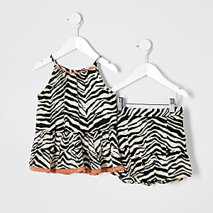 Mini girls brown zebra print cami top outfit