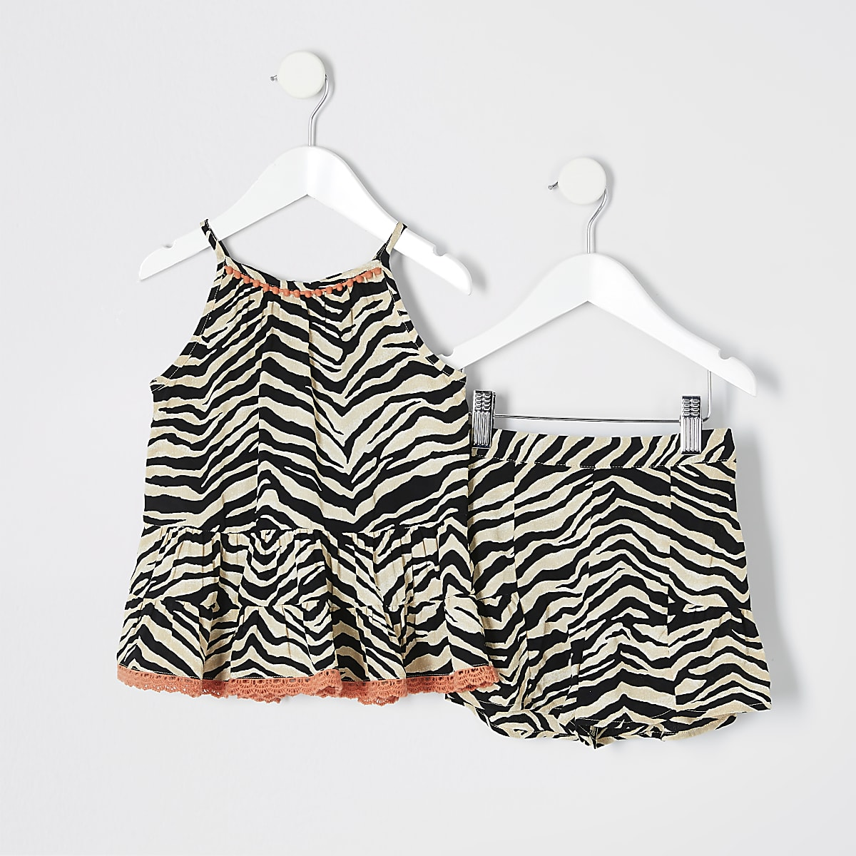 ad5f29ceb3d99 Mini girls brown zebra print cami top outfit