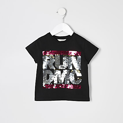 Mini girls black sequin 'Run DMC' T-shirt