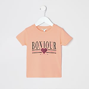 Mini girls neon orange 'bonjour' T-shirt