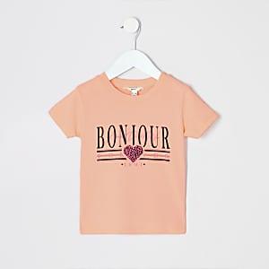 Mini - Neonoranje T-shirt met 'Bonjour'-print voor meisjes