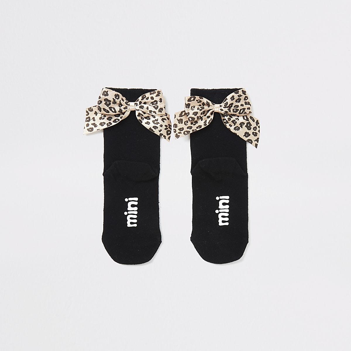 Mini - Zwarte sokken met strik met luipaardprint voor meisjes