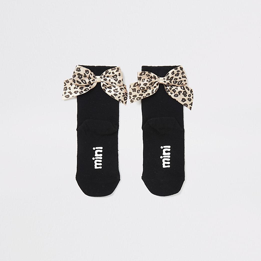 Mini - Zwartesokken met luipaardprint en strik voor meisjesset van 2