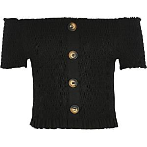 Girls black shirred bardot top
