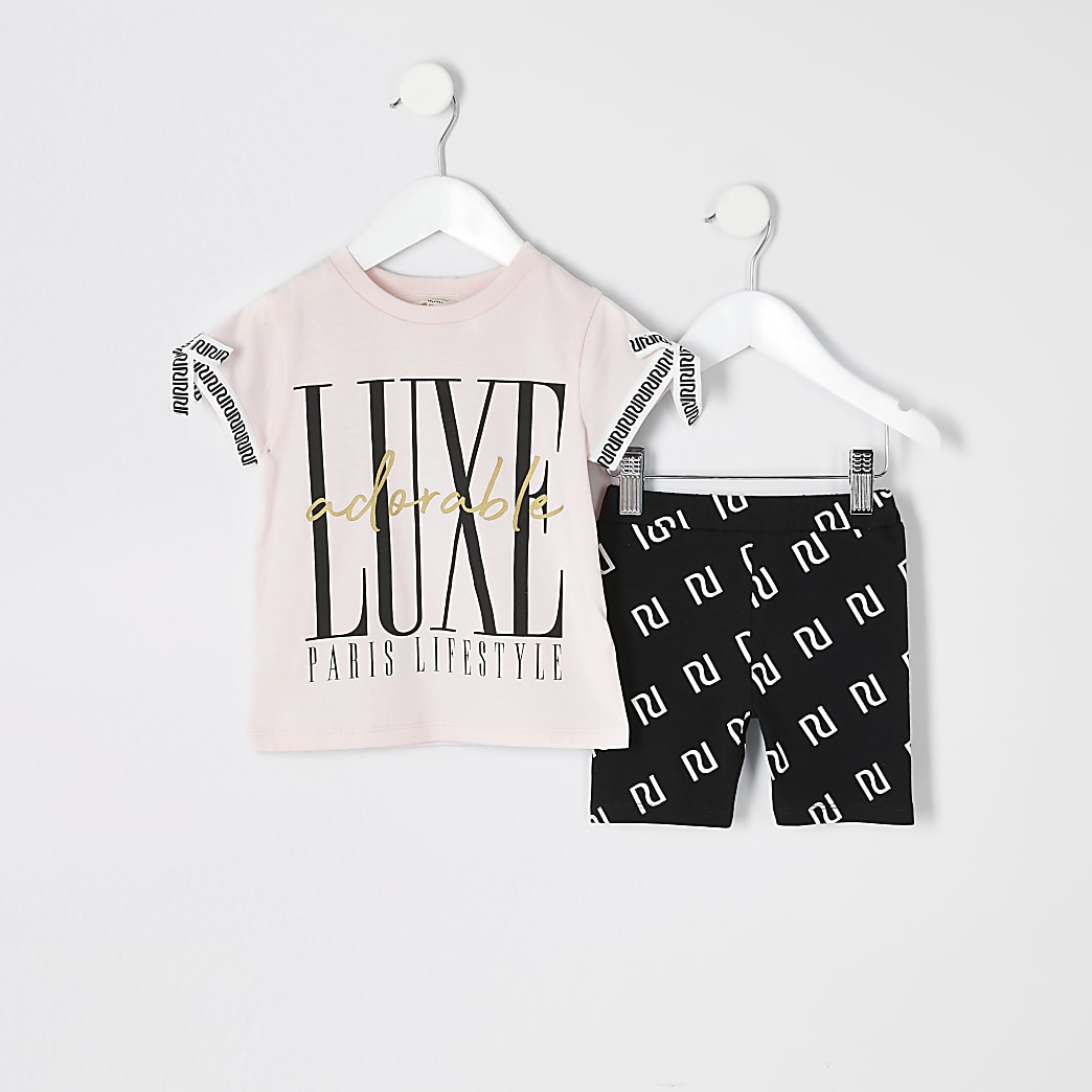 Mini girls pink printed cycle short outfit