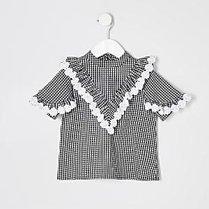 Mini - Zwarte blouse met gingham-ruit voor meisjes
