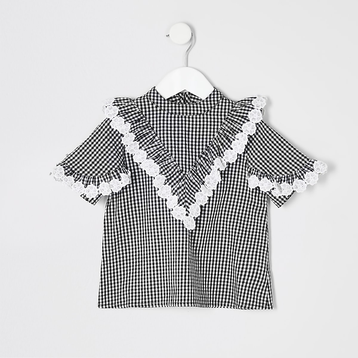 Mini girls black gingham check blouse