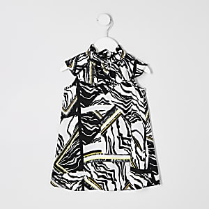 Mini girls cream zebra print trapeze dress