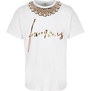 Wit verfraaid T-shirt met ketting voor meisjes