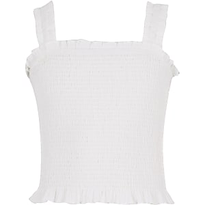 Girls white shirred crop top
