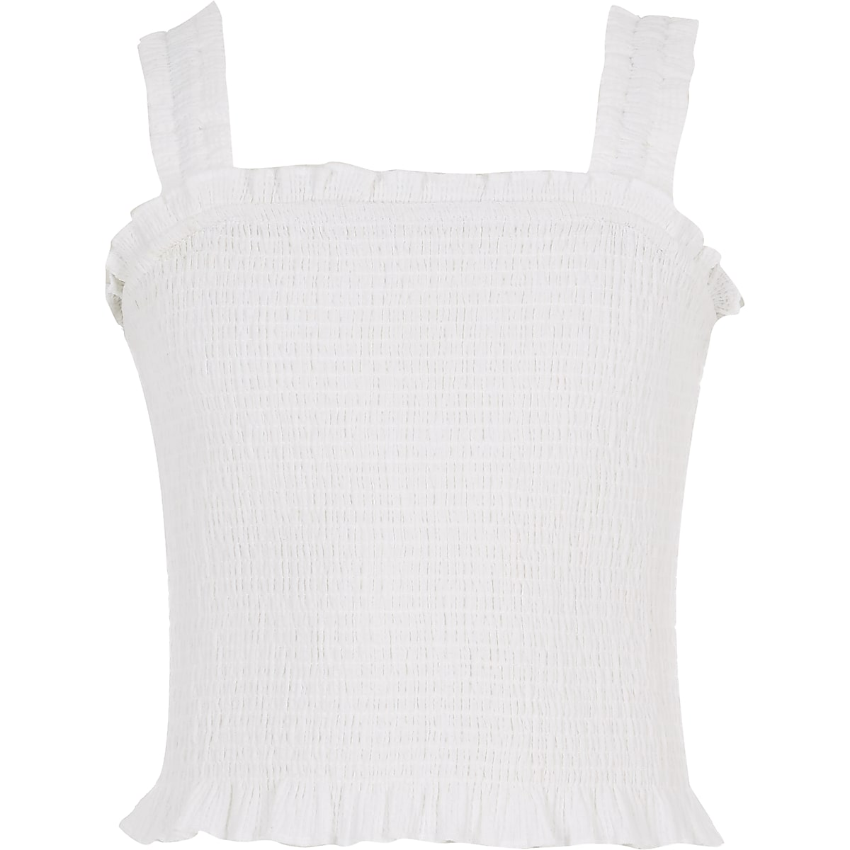 Girls white shirred crop top