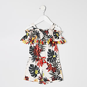 Mini girls cream tropical print playsuit