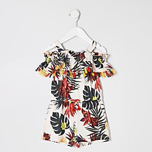 Mini girls cream tropical print romper