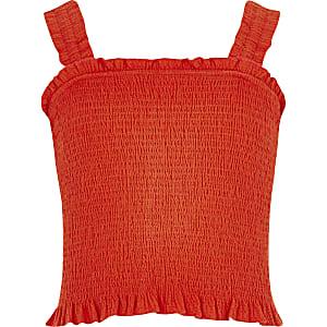Rode gesmokte crop top voor meisjes