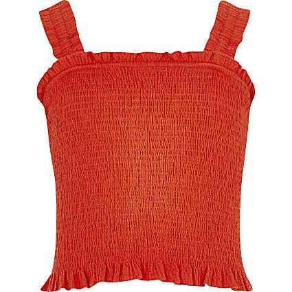 Girls red shirred crop top