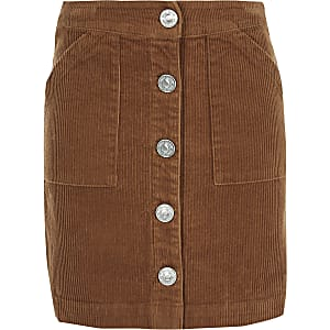 Girls brown cord A line skirt