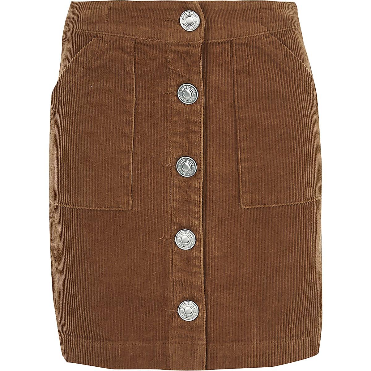 Girls brown cord A line skirt