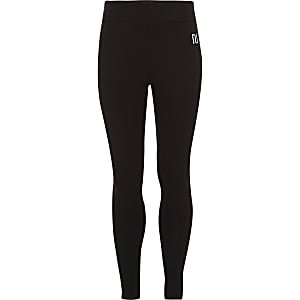 Girl black RI branded fold over leggings