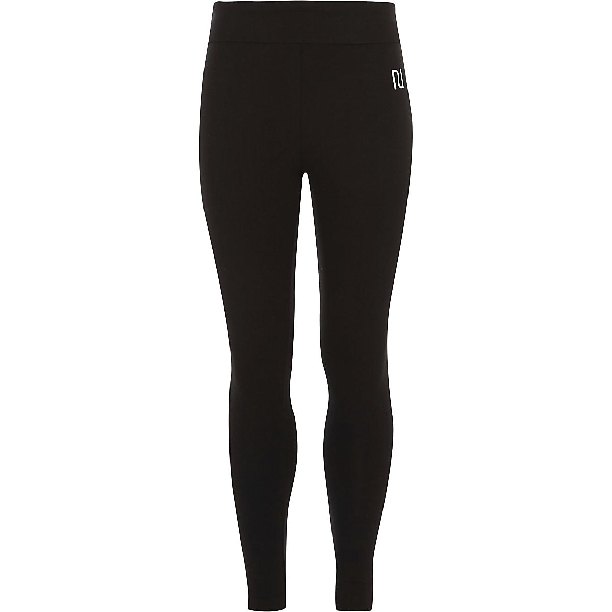 Girl black RI branded fold over leggings