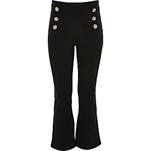 Zwarte uitlopende broek met knopen voorop voor meisjes