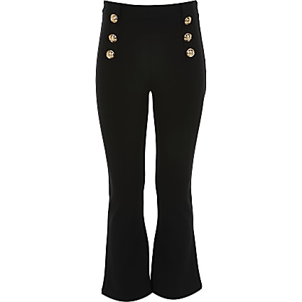 Girls black button front flare trousers