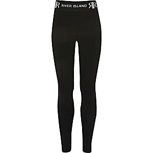 Legging noir avec logo RI à la taille pour fille