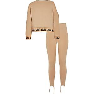 Braunes Outfit mit Sweatshirt mit Schulterausschnitt für Mädchen