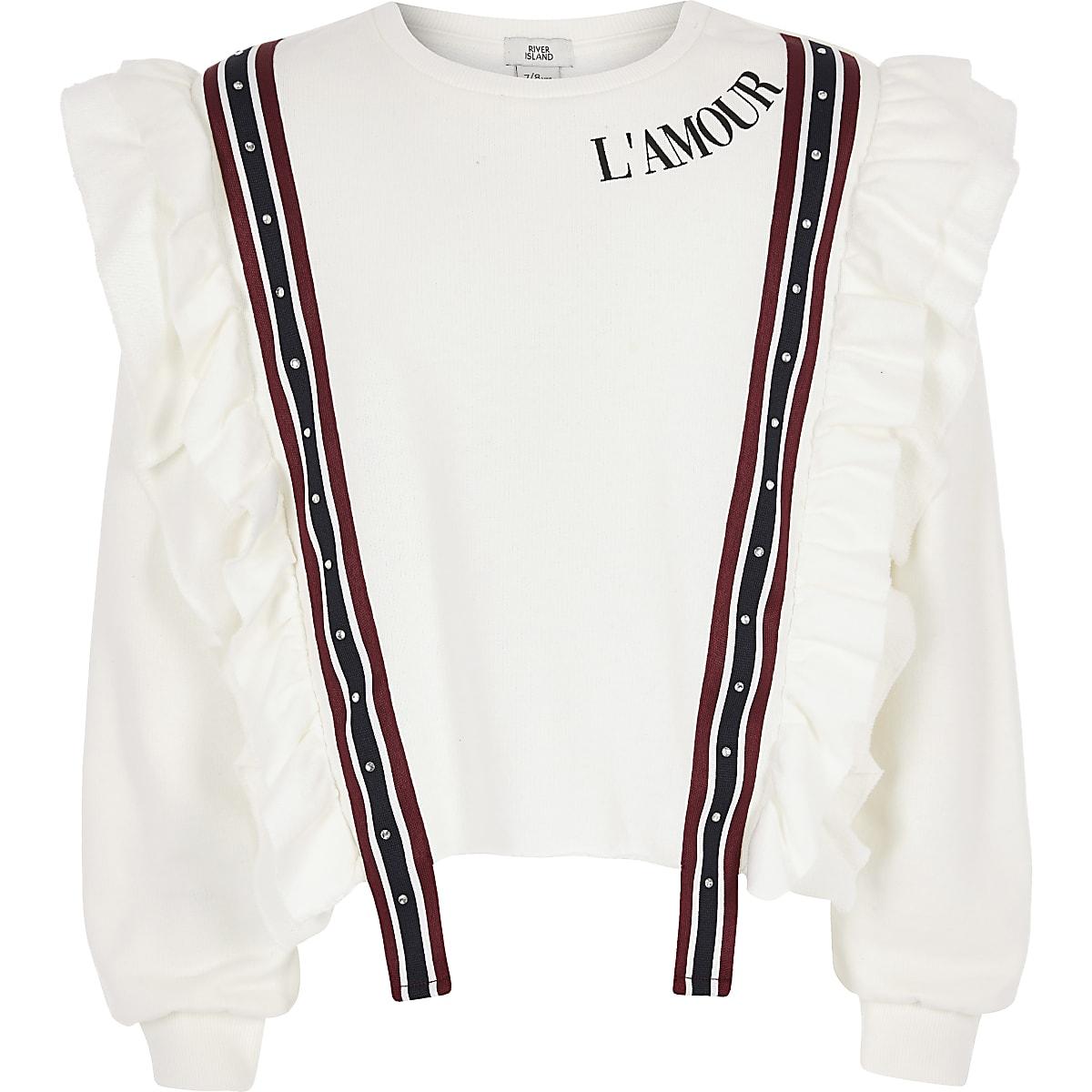 Girls cream ruffle sweatshirt