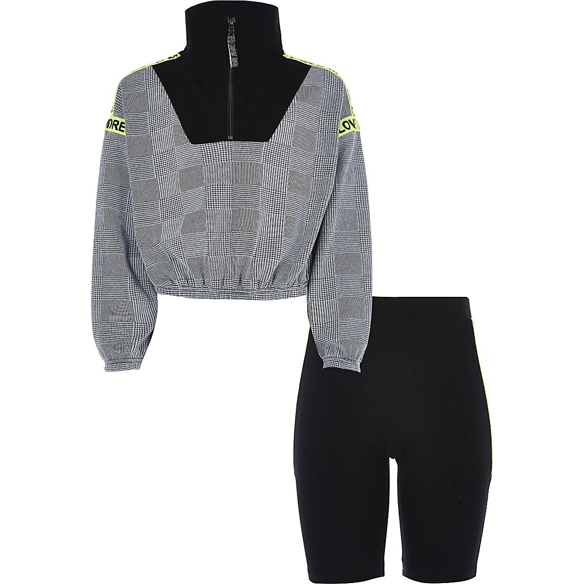 Outfit met zwarte geruite top met opstaande kraag voor meisjes