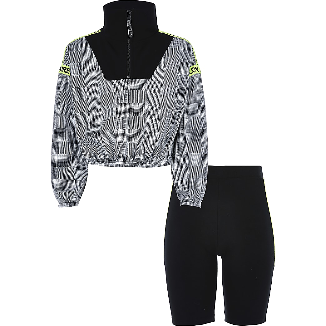 Girls black check funnel neck top outfit
