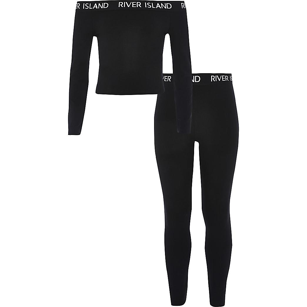 Outfit met zwarte bardottop voor meisjes