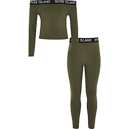 Girls khaki RI bardot top and leggings outfit