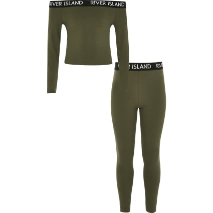 Girls khaki RI bardot top and leggings outfit