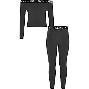 Ensemble avec legging et top Bardot gris à logo RI pour fille