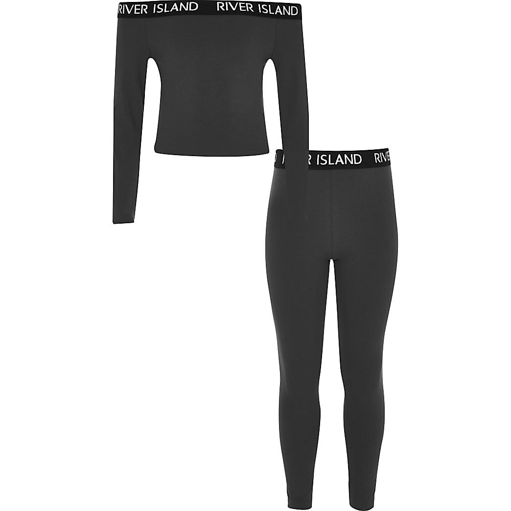 Outfit met grijze RI bardottop en legging voor meisjes