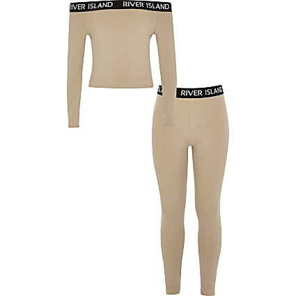 Girls brown RI bardot top and legging outfit