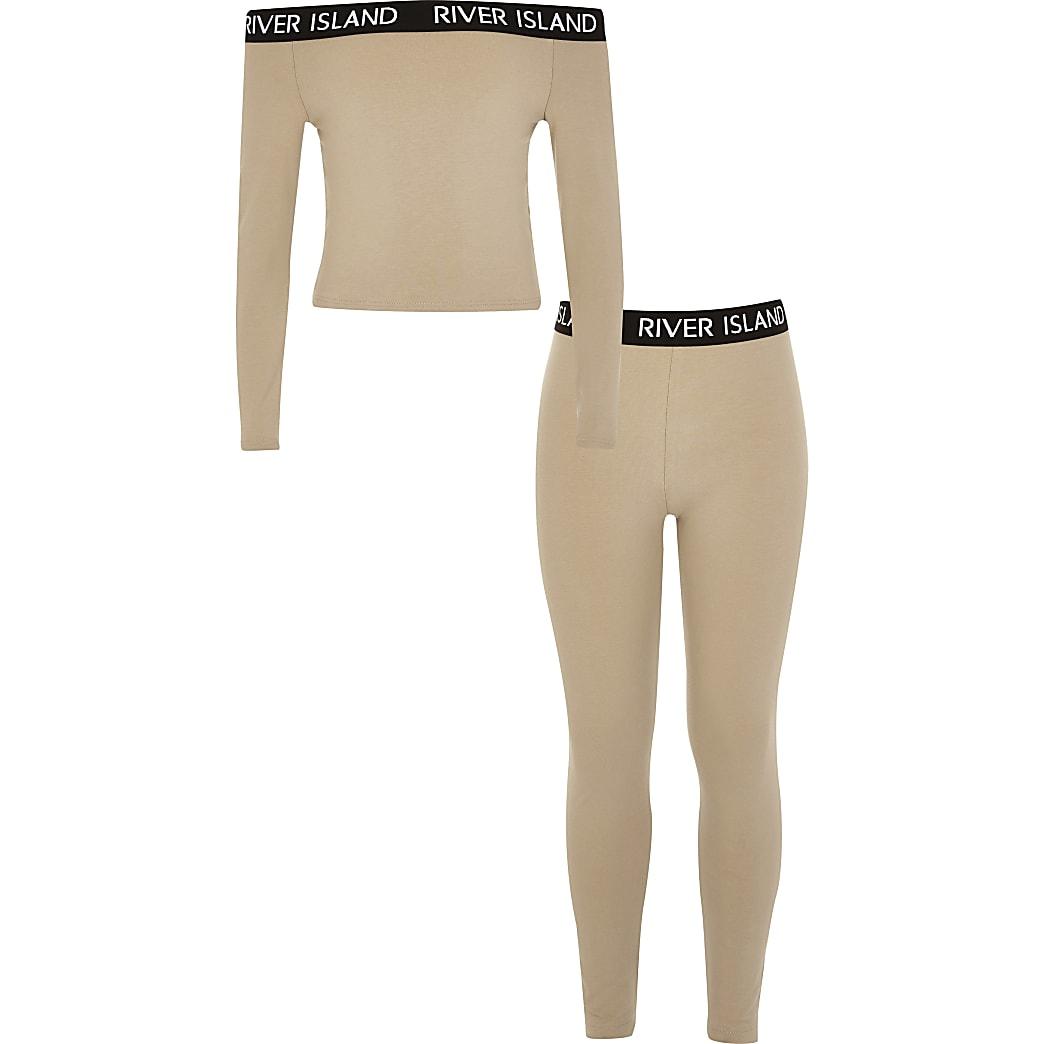Girls brown RI bardot top and legging outfit