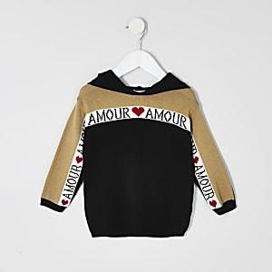 Mini girls black 'amour' hoodie