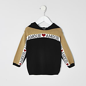 Mini girls black 'amour' hoodie