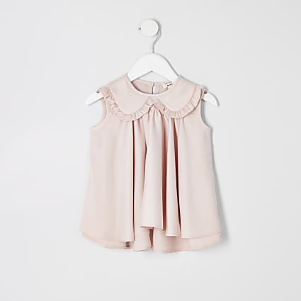 Mini girls pink trapeze top