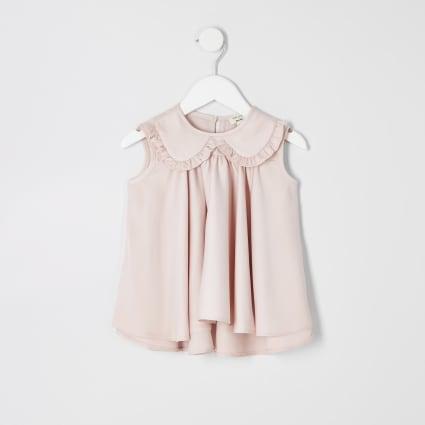 Mini girls pink trapeze top