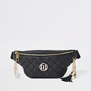 Girls black quilted RI belted bumbag