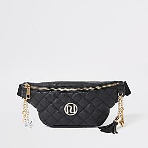 Zwart doorgestikt heuptasje met riem en RI-logo voor meisjes