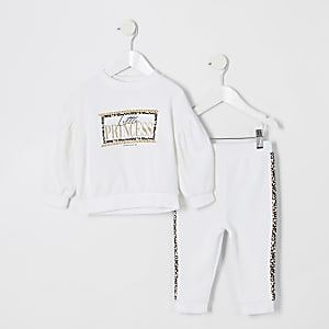 Mini girls white print sweatshirt outfit