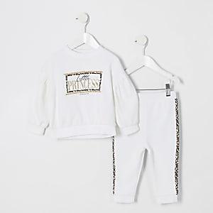 """Mini –Weißes Sweatshirt-Outfit """"Little Princess"""" für Mädchen"""