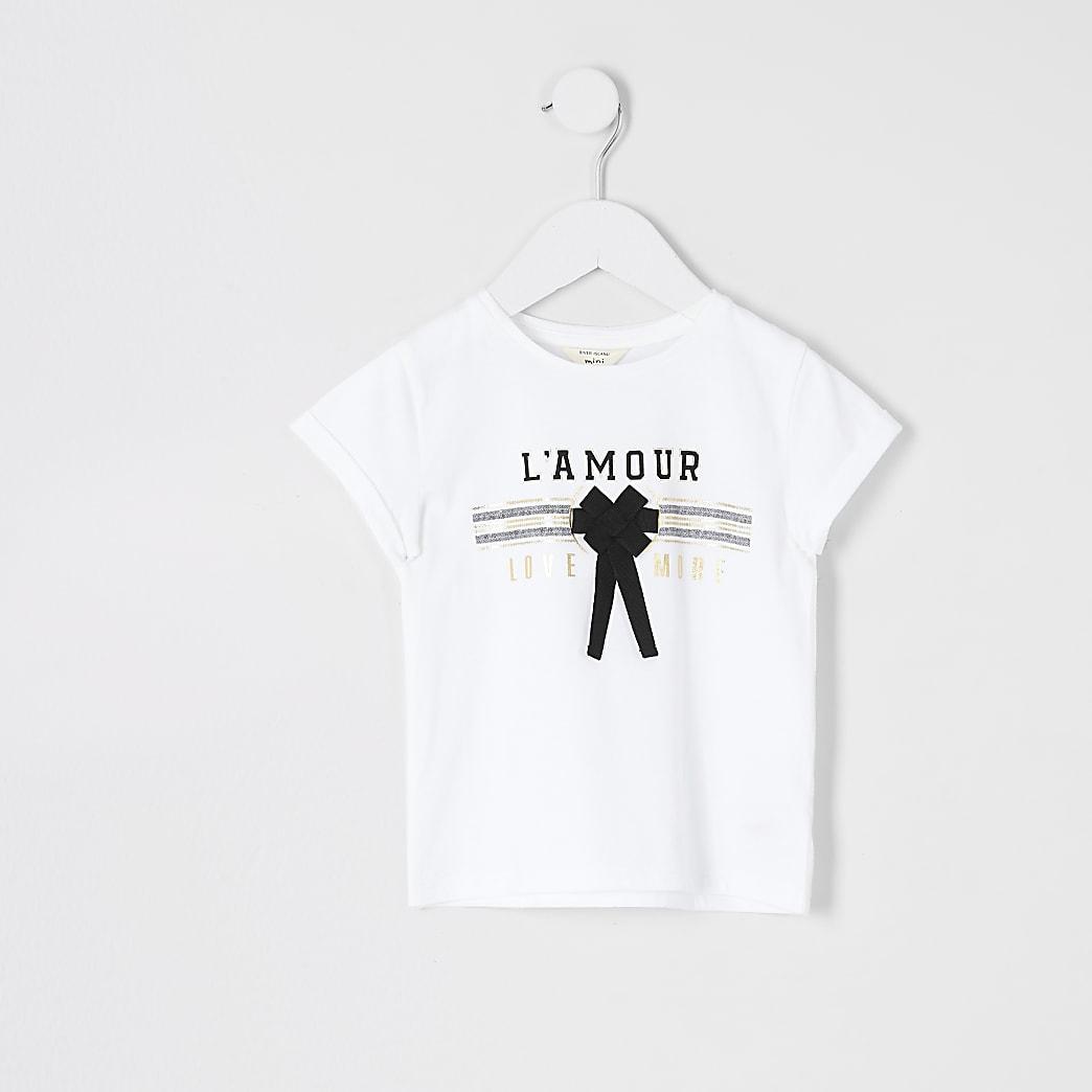 Mini girls white amour bow t-shirt