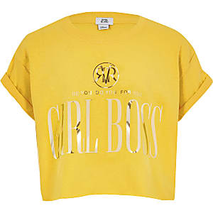 Girls yellow 'Girls boss' crop T-shirt